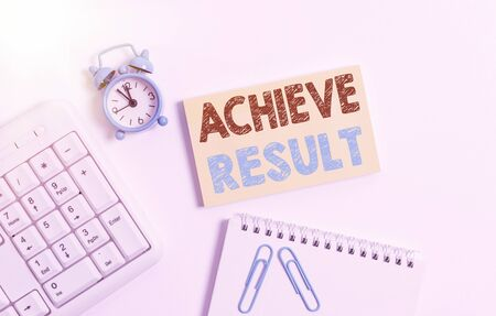 Writing note showing Achieve Result. Business concept for Accomplishment Attain Bring to a successful conclusion Keyboard with empty note paper and pencil white background Stock Photo