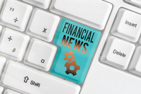 Word writing text Financial News. Business photo showcasing Investment banking Fund management Regulation and trading