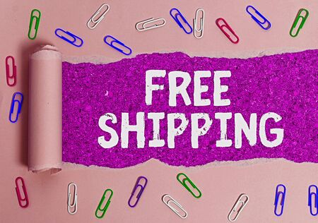Text sign showing Free Shipping. Business photo text Freight Cargo Consignment Lading Payload Dispatch Cartage