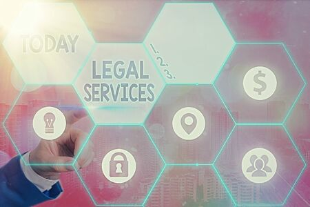 Writing note showing Legal Services. Business concept for Providing access to justice Fair trial Law equality Banco de Imagens