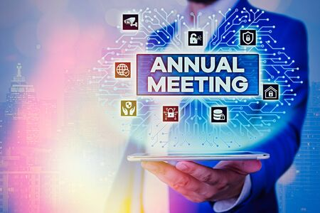 Text sign showing Annual Meeting. Business photo showcasing Yearly gathering of an organization interested shareholders Фото со стока