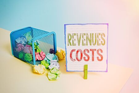 Handwriting text Revenues Costs. Conceptual photo Total amount of money in Manufacturing and Delivery a product Trash bin crumpled paper clothespin empty reminder office supplies tipped