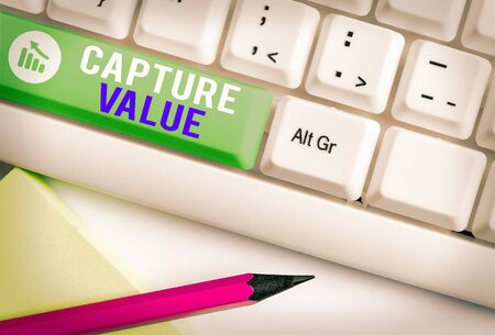 Writing note showing Capture Value. Business concept for Customer Relationship Satisfy Needs Brand Strength Retention