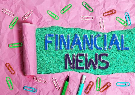 Handwriting text Financial News. Conceptual photo Investment banking Fund management Regulation and trading