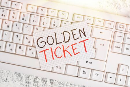 Writing note showing Golden Ticket. Business concept for Rain Check Access VIP Passport Box Office Seat Event Keyboard office supplies rectangle shape paper reminder wood