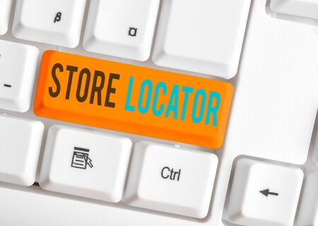 Writing note showing Store Locator. Business concept for to know the address contact number and operating hours
