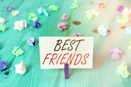 Word writing text Best Friends. Business photo showcasing A an individual you value above other an individuals Forever buddies Imagens