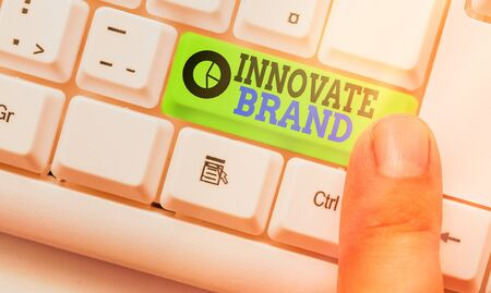 Handwriting text writing Innovate Brand. Conceptual photo significant to innovate products, services and more 版權商用圖片