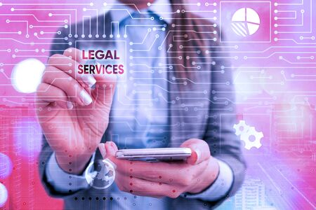Text sign showing Legal Services. Business photo text Providing access to justice Fair trial Law equality