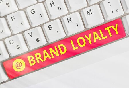 Text sign showing Brand Loyalty. Business photo text Repeat Purchase Ambassador Patronage Favorite Trusted Stock Photo