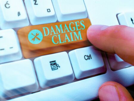 Text sign showing Damages Claim. Business photo text Demand Compensation Litigate Insurance File Suit Imagens