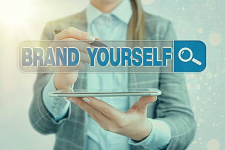 Text sign showing Brand Yourself. Business photo text Develop a unique professional identity Personal product