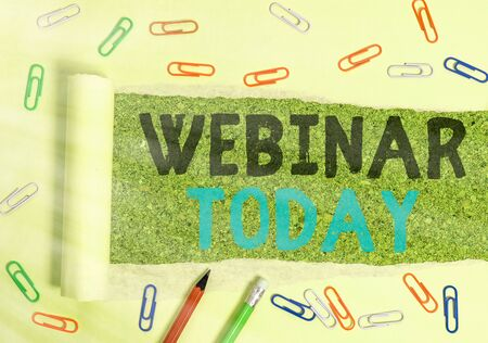 Conceptual hand writing showing Webinar Today. Concept meaning live online educational presentation on different location 스톡 콘텐츠
