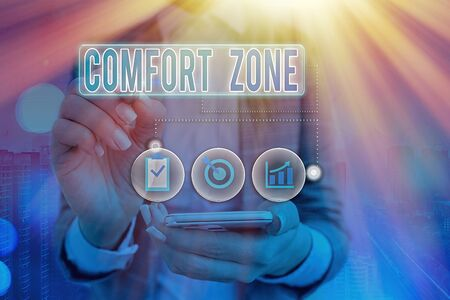 Writing note showing Comfort Zone. Business concept for A situation where one feels safe or at ease have Control Stok Fotoğraf