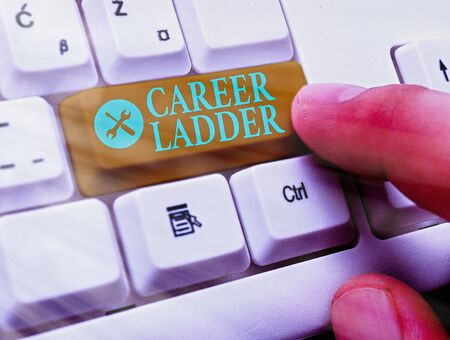 Text sign showing Career Ladder. Business photo text Job Promotion Professional Progress Upward Mobility Achiever