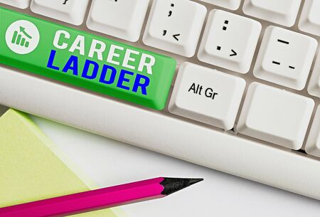 Writing note showing Career Ladder. Business concept for Job Promotion Professional Progress Upward Mobility Achiever Stock Photo