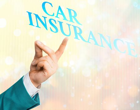 Writing note showing Car Insurance. Business concept for Accidents coverage Comprehensive Policy Motor Vehicle Guaranty