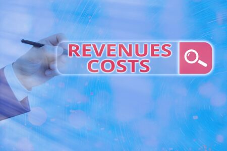 Conceptual hand writing showing Revenues Costs. Concept meaning Total amount of money in Manufacturing and Delivery a product