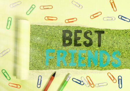 Conceptual hand writing showing Best Friends. Concept meaning A an individual you value above other an individuals Forever buddies