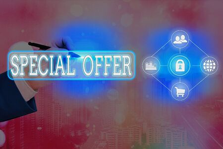 Text sign showing Special Offer. Business photo text Discounted price Markdown Promotional Items Crazy Sale Stock Photo
