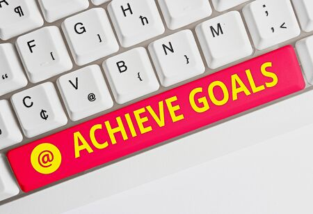 Text sign showing Achieve Goals. Business photo text Results oriented Reach Target Effective Planning Succeed