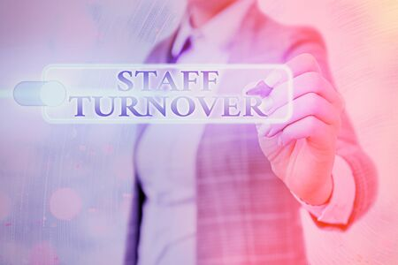 Writing note showing Staff Turnover. Business concept for The percentage of workers that replaced by new employees