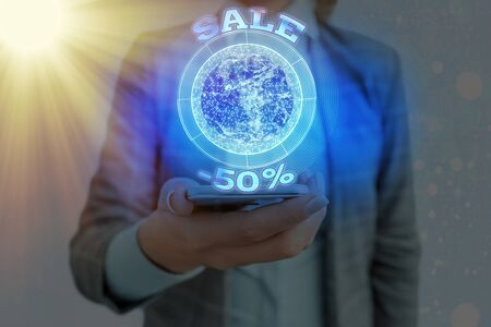 Text sign showing Sale 50 Percent. Business photo showcasing A promo price of an item at 50 percent markdown Foto de archivo