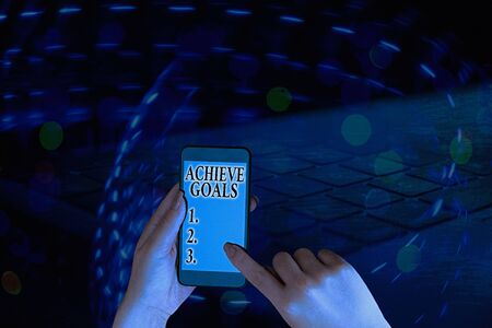 Text sign showing Achieve Goals. Business photo showcasing Results oriented Reach Target Effective Planning Succeed