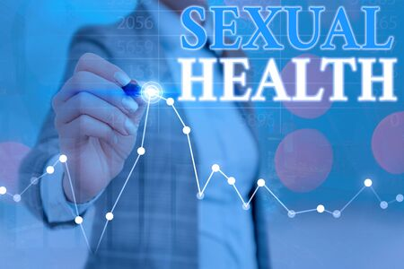 Conceptual hand writing showing Sexual Health. Concept meaning Healthier body Satisfying Sexual life Positive relationships Фото со стока