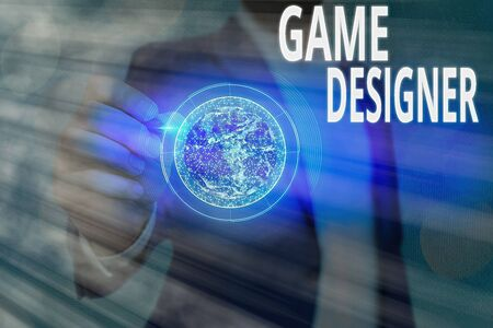 Text sign showing Game Designer. Business photo showcasing Campaigner Pixel Scripting Programmers Consoles 3D Graphics Фото со стока