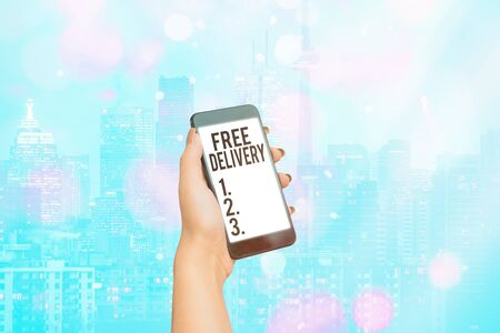 Handwriting text writing Free Delivery. Conceptual photo Shipping Package Cargo Courier Distribution Center Fragile