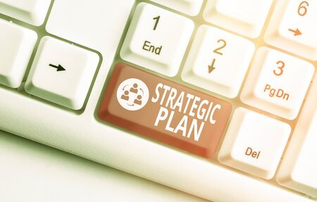 Word writing text Strategic Plan. Business photo showcasing A process of defining strategy and making decisions