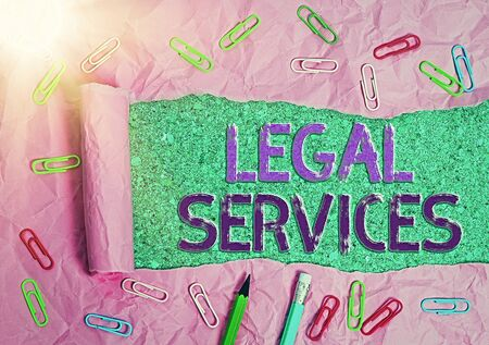 Handwriting text Legal Services. Conceptual photo Providing access to justice Fair trial Law equality Banco de Imagens