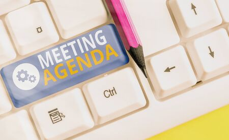 Handwriting text writing Meeting Agenda. Conceptual photo An agenda sets clear expectations for what needs to a meeting