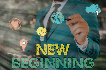 Writing note showing New Beginning. Business concept for Different Career or endeavor Starting again Startup Renew
