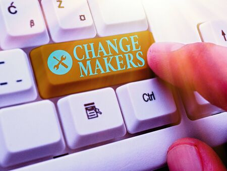 Text sign showing Changemakers. Business photo text Young Turk Influencers Acitivists Urbanization Fashion Gen X