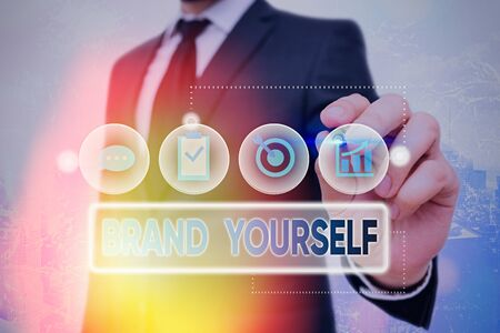 Handwriting text Brand Yourself. Conceptual photo Develop a unique professional identity Personal product