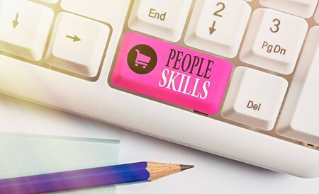 Writing note showing People Skills. Business concept for Get Along well Effective Communication Rapport Approachable 写真素材