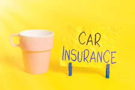 Conceptual hand writing showing Car Insurance. Concept meaning Accidents coverage Comprehensive Policy Motor Vehicle Guaranty Paper blue clothespin rectangle shape reminder yellow office