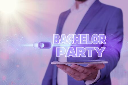 Handwriting text Bachelor Party. Conceptual photo Party given for a man who is about to get married Stag night Foto de archivo