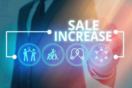 Handwriting text Sale Increase. Conceptual photo Average Sales Volume has Grown Boost Income from Leads Banco de Imagens
