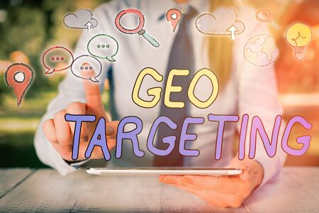 Text sign showing Geo Targeting. Business photo showcasing Digital Ads Views IP Address Adwords Campaigns Location