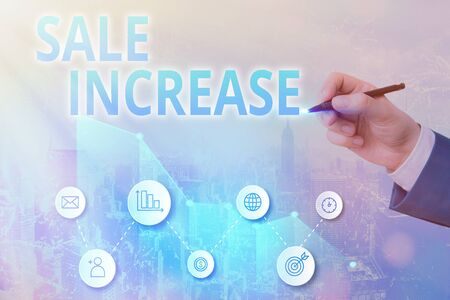 Writing note showing Sale Increase. Business concept for Average Sales Volume has Grown Boost Income from Leads Stock Photo