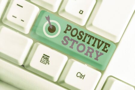 Writing note showing Positive Story. Business concept for Meaningful and motivating article Good News Success scoop Stock fotó