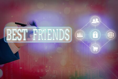 Text sign showing Best Friends. Business photo text A an individual you value above other an individuals Forever buddies
