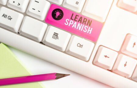 Handwriting text writing Learn Spanish. Conceptual photo Translation Language in Spain Vocabulary Dialect Speech