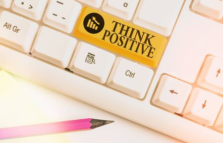 Conceptual hand writing showing Think Positive. Concept meaning The tendency to be positive or optimistic in attitude