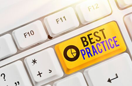 Writing note showing Best Practice. Business concept for Method Systematic Touchstone Guidelines Framework Ethic Фото со стока