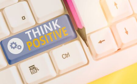 Handwriting text writing Think Positive. Conceptual photo The tendency to be positive or optimistic in attitude Фото со стока
