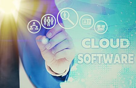 Writing note showing Cloud Software. Business concept for Programs used in Storing Accessing data over the internet Stock fotó